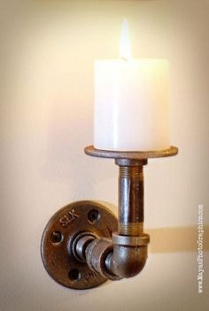 Modern Industrial Pipe steam punk candle holder by AudiyoCreations, $29.99