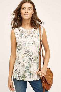 Cute and casual for summer work! Lia Tank #anthropologie