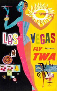 David Klein, TWA Las Vegas Travel Poster, c1960s.