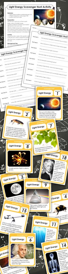 Print out this full color scavenger hunt for an exciting #science game your students will love! Hide the #scavengerhunt cards around your classroom for students to find. Each time students find a card, they read the clue and write down the fact they learned on their corresponding fact sheet. Can your students answer all the light energy questions?  Find more printable scavenger hunt activities from #superteacherworksheets!