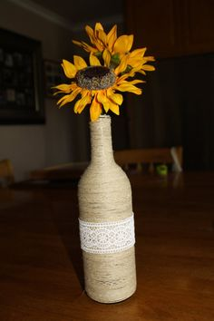 Wine Bottle Hemp Cord With Lace And Fake Sunflowers. Available on my etsy shop Spotless Minds