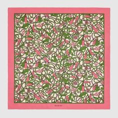Gucci Double G and Tassels Print Silk Scarf Flora Print, Apple Prints, Gucci Gifts, Silk Shawl, Square Scarf, Cartoon Styles, Womens Scarves, Pink And Green, Tassels