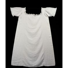 Chemise- long shirt worn by all classes. went under corset and was the closest garment to the body. Some had lace trim. Origin: Great Britain 18th century. Materials: linen and muslin frill