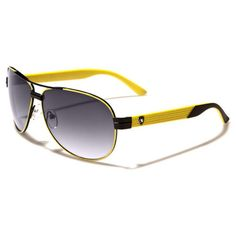 5b40def433b1b Khan Unisex Aviator Black and Yellow Sunglasses Gradient Smoke Lens. Kelber  Augusto Timbeta · Óculos