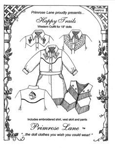 "Clothing Patterns for 18"" American Girl Dolls -     Primrose Lane"