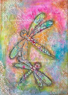 Original Mixed Media Canvas Dragonfly by NikaInWonderland on Etsy(Christmas Mix Media) Mixed Media Painting, Mixed Media Collage, Mixed Media Canvas, Collage Art, Painting Collage, Painting Abstract, Acrylic Paintings, Kunstjournal Inspiration, Art Journal Inspiration