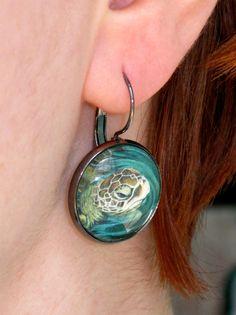 Sea Turtle  Medium Earrings by CatStudiosArt on Etsy, $12.00
