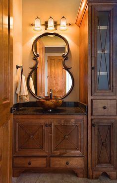 Cabinet color--beautiful cello mirror!