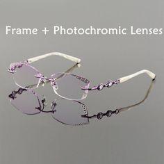 fe6428d324 Titanium Alloy Eyeglasses Women Rimless Prescription Reading Myopia.  Women s OpticalOptical FramesEye ...