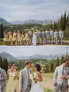 #girls in yellow, guys in gray ... Wedding ideas for brides & bridesmaids, grooms & groomsmen, parents & planners ... https://itunes.apple.com/us/app/the-gold-wedding-planner/id498112599?ls=1=8 … plus how to organise an entire wedding, without overspending ♥ The Gold Wedding Planner iPhone App ♥