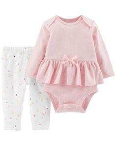 ecb6e2de9 Certified Organic 2-Piece Peplum Bodysuit Pant Set