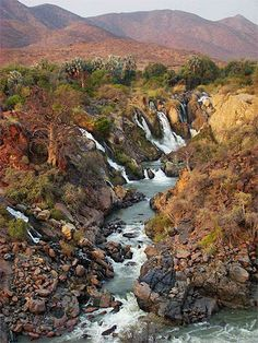 The Epupa Falls Kunene River on the border of Angola and Namibia. Places Around The World, Around The Worlds, Beautiful World, Beautiful Places, Land Of The Brave, Namibia, Les Continents, Out Of Africa, Photos Voyages