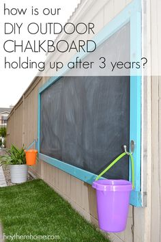 Our DIY Outdoor Chalkboard Holding Up After 3 Years? DIY outdoor chalkboard after 3 yearsDIY outdoor chalkboard after 3 yearsIs Our DIY Outdoor Chalkboard Holding Up After 3 Years? DIY outdoor chalkboard after 3 yearsDIY outdoor chalkboard after 3 years Backyard Playground, Backyard Fences, Backyard For Kids, Garden Kids, Preschool Playground, Playground Ideas, Diy Fence, Family Garden, Garden Club