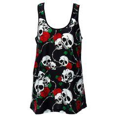 Banned Skull Wire Rose Vest (Black)