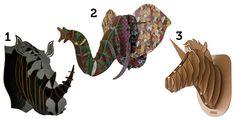 Decore sua parede com cabeças de animais de madeira
