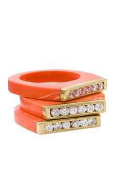 Stackable Coral Resin Ring Set