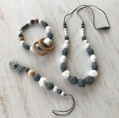 Grey Baby Gift set Baby & Mommy Gift Set Pacifier Clip and