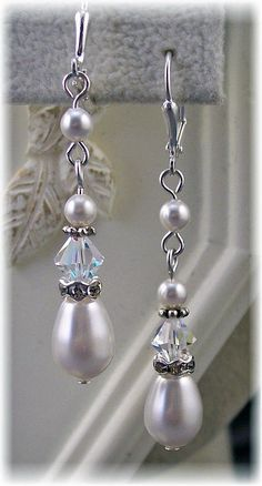 New Swarovski Crystal/ Pearl Teardrop Dangle by HisJewelsCreations, $24.00