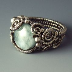 BlueGreen Aquamarine and Silver Sculpted by SamBraundJewellery, £100.00