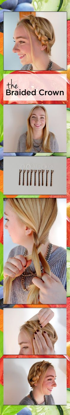 A (super) easy braided crown 'do for a new spin on putting your hair up! 1. Center part your hair 2. Braid both sections on each side and tie. 3. Place and pin braids on each side, framing your face. 4. Hide ends under the opposing braid. 5. All done!