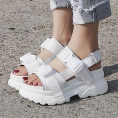 Product Name Summer Women Sandals Buckle Design Black White Platform Sandals Comfortable Women Thick Sole Beach Shoes Product Category . Fashion Heels, Sneakers Fashion, Sport Outfit, Sneakers Mode, Beach Shoes, Platform Shoes, Cute Shoes, Girls Shoes, Ladies Shoes