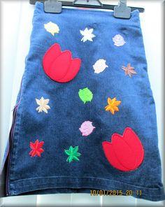 Upcycled Denim and Embellished Baby Girl Knee by KraftytKiwiKorner