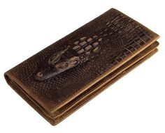 This stylish and fashionable alligator skin embossed long wallet is a special design for us. Durable quality embossing, industrial strength thread on crazy hors