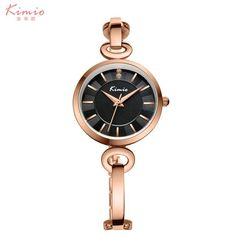 KIMIO Thin Case Simple Double Dial Bracelet And Bangle Combination Strap  Women Watches 2017 Ladies Rose Gold Watch Woman Cheap e6269fca40ab