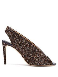 New Jimmy Choo Shar 85 peep-toe glitter leather slingback sandals. Black Glitter, Golden Glitter, Slingback Sandal, Jimmy Choo, Heeled Mules, Stiletto Heels, Peeps, Peep Toe, Sandals