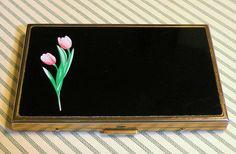 Vintage Cigarette Case Tulip Design Lucienne Metal