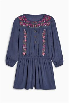 Navy Embroidered Playsuit (3-16yrs)