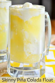 Skinny Pina Colada Float  ~ perfect light and refreshing summer dessert.