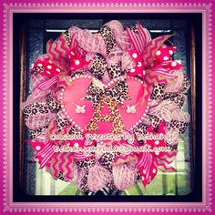 Custom babyshower it's a girl, polka dot chevron, leopard, stripes, pink, baby carriage , heart, letter A, deco mesh wreath for door
