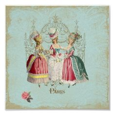 Marie Antoinette Ladies Paris French Print by FrenchCardsandParty