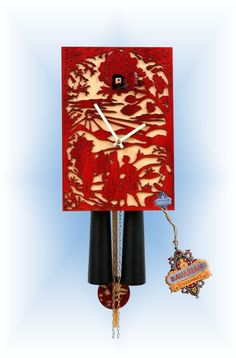 Modern 1 Day Red Silhoutte 11 Cuckoo Clock By Rombach Haas