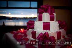 This cake is all wrapped up in a pink bow at the Lake Union Crew