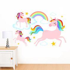 Dreamy Rainbow Unicorns, Clouds U0026 Stars Mural Wall Sticker   Girlu0027s  Childrenu0027s Art Vinyl Decal Transfer   Designed By Rubybloom Designs