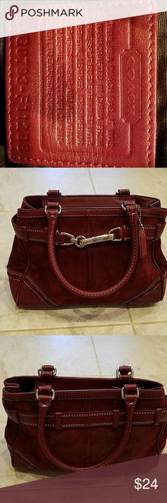 """Coach bag in burgundy. Authentic coach bag burgundy color in leather.   11""""W at the bottom,  9"""" W opening with partial zipper closure, 3"""" D, 8"""" H and handle drop 6.5"""".  In a good shape structurally, but there are many spots discolored due to wear.  It may need a good cleaning but you can't see the discolor from a distance.  PLEASE SEE PICTURES. Coach Bags Satchels"""