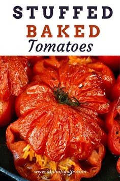 How to make delicious vegetarian Greek stuffed tomatoes with a tender, juicy onion and rice filling! Even better, these baked stuffed tomatoes are gluten-free and can be enjoyed vegetarian or vegan!