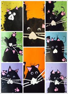 Art to go with the Splat the Cat books. Fall Art Projects, Animal Art Projects, Art Therapy Projects, Splat Le Chat, Kindergarten Art Lessons, 2nd Grade Art, Link Art, Valentines Art, Autumn Art
