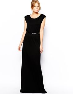 Mango Black Jersey Belted Maxi Dress