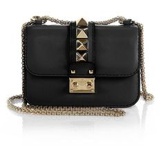 Valentino Rockstud Lock Mini Shoulder Bag (37,055 MXN) ❤ liked on Polyvore featuring bags, handbags, shoulder bags, apparel & accessories, black, leather purse, chain shoulder bag, leather shoulder handbags, valentino handbags and real leather handbags