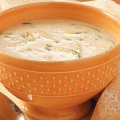 Creamy Zucchini Soup from Taste of Home.  This recipe adds 1 cup of shredded cheddar cheese to the soup.