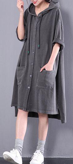dark gray summmer shirt dress fine cotton maternity dresses plus size casual clothes