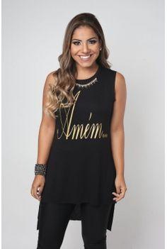Blusa Feminina Amém - Preta com Dourado 460c6721f21af