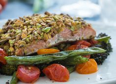 Pistachio-Crusted Salmon with Asparagus & Rice
