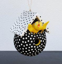 Vintage Dept 56 Ornament Birdhouse, LARGE Black & White Polka Dot, Yellow Chick in Bird House