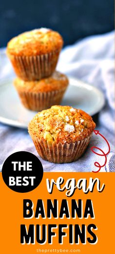 These are the most perfect vegan banana muffins! Light, fluffy, and full of classic banana bread flavor, these are a must make treat! #easy #best #recipe #simple