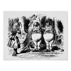 Alice in Wonderland with Tweedledum and Tweedledee Posters