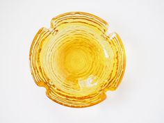 Vintage Glass Ashtray by Anchor Hocking -- Vintage Soreno ashtray made by Anchor Hocking in a clear amber, gold, topaz color.